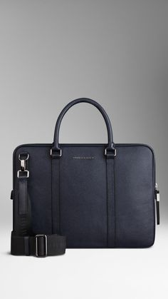 Burberry Navy London Leather Crossbody Briefcase - London leather briefcase with rolled leather handles and detachable webbed canvas crossbody strap. Ziparound closure with oversize zip pulls, polished metal hardware. Briefcase For Men, Leather Briefcase, Leather Crossbody, Crossbody Bag, Burberry Handbags, Tote Handbags, Leather Handle, Leather Men, Leather Jackets