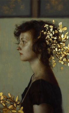 Oil and gold leaf on wood~Painting by Brad Kunkle