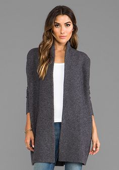 VINCE Textured Drape Cardigan in Thunder - Vince