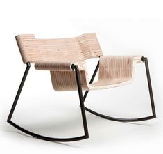 Sugar rock chair, Materials: 2 pieces of wood and steel, Rocking chair, Experimental, Living room
