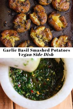 Hello potato lovers! Get a load on these super crispy Garlic Basil Smashed Potatoes! Flavourful and fun to make, these little babies are a perfect side dish for your parties or weeknight dinners. #smashedpotatoes #potatoappetizer Potato Sides, Potato Side Dishes, Potato Appetizers, Easy Potato Recipes, Vegan Side Dishes, Weeknight Dinners, Saturday Night, Palak Paneer, Vegetable Recipes