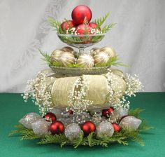 Dress up a cake stand with Christmas baubles and tinsel. Easy yet elegant table Centrepiece for the Christmas Dinner Table. Colour match your decor.