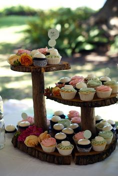 gorgeous romantic/rustic wedding - the groom made these stands! by { coco cake cupcakes }, via Flickr