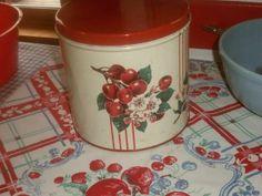 Vintage 50s cherries floral tin wilendur go along cannister cottage stripes ex