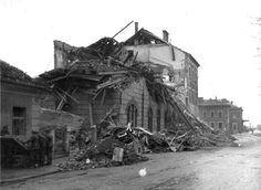 The railway station in the Austrian town of Villach, destroyed by Allied bombing, 1944.