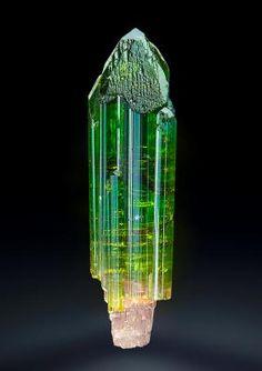 Tourmaline - Pederneira Mine, São José da Safira, Doce valley, Minas Gerais, Brazil Size: 4.2 x 1.1 x 0.9 cm
