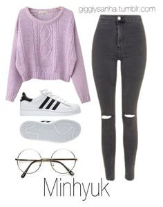 """""""Movie Date // Minhyuk"""" by suga-infires ❤ liked on Polyvore featuring Topshop, Chicnova Fashion and adidas"""