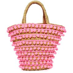 Mystique Pom Pom Tote (905 HKD) ❤ liked on Polyvore featuring bags, handbags, tote bags, neon pink, straw purse, pink beach tote, pink purse, tote purses and beach tote bags