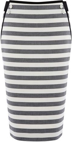 KAREN MILLEN ENGLAND   Graphic Stripe Separates Skirt