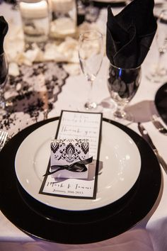 Thank you to the wedding guests, black and white wedding favors, black charger plates