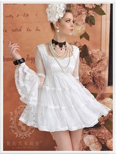 Morpheus Boutique - White See Through Long Sleeve Lace Hem Pleated Dress Casual Dresses, Short Dresses, Fashion Dresses, Kawaii Fashion, Girl Fashion, Fashion Fabric, Girly Outfits, Girly Girl, Pretty Dresses