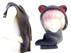 Kitty Hood Scarf With Pockets #howto #tutorial