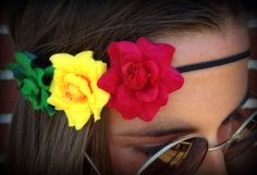 Rasta Rose Trio headband by Slave2theRave on Etsy, $14.00