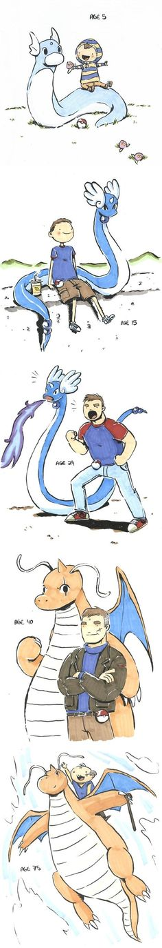 A Boy and His Dratini - http://caityhallart.tumblr.com/post/112810701785/this-commission-was-so-much-fun-to-do-thanks-to