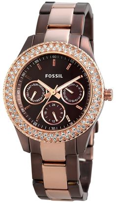 1f15b712c6993 Amazon.com  Fossil Women s ES2955 Stainless Steel Analog Brown Dial Watch   Fossil  Watches