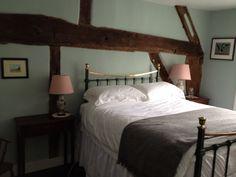 Bedroom 2 Farrow & Ball Teresa's Green on walls, Cinders Rose on cupboard doors, woodwork James White