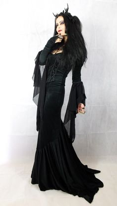 Madame Eviscerella Gown -by Moonmaiden Gothic Clothing UK - Morticia meets Maleficent!