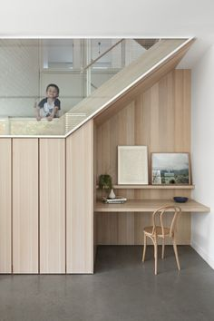 Under the stairwell is a perfect place to put a small home office or study nook Australian Interior Design, Interior Design Awards, Home Interior, Interior Decorating, Decorating Tips, Halo House, Office Under Stairs, Home Office Design, House Design