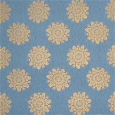 "Lee Jofa Antique ""Indigo Rosette"" Metallic Gold on Blue Reproduction Ceiling+ Medallion Wallpaper, Also in red and beige."