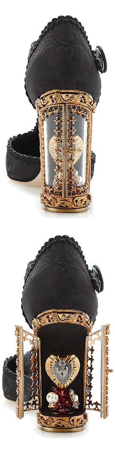 Dolce & Gabbana black jacquard t-strap Mary Jane with window pane pump, SS 2015