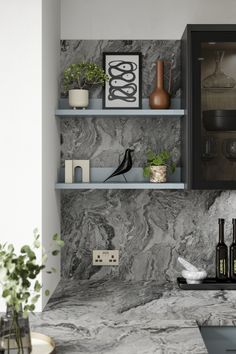Need marble countertop ideas or modern kitchen countertop ideas? Our Stratus Black Marble Laminate Worktop is a great addition to any modern kitchen design. Finish with matching marble backboard and kitchen shelving. Add eucalpytus, house plants for kitchen shelving ideas. Howdens Worktops, Kitchen Worktops, Kitchen Plants, Shelving Ideas, Marble Effect, Work Surface, Work Tops, Marble Countertops, Kitchen Shelves