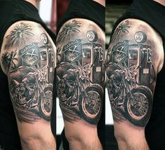 484c534bfa596 Popular Bike Tattoo For Men's Sleeve Biker themed Tattoo Inspiratitions.  Old school vintage styled biker tattoos