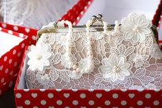 Champagne Satin Ivory lace Bridal Clutch Bag JARDIN II, via Flickr.