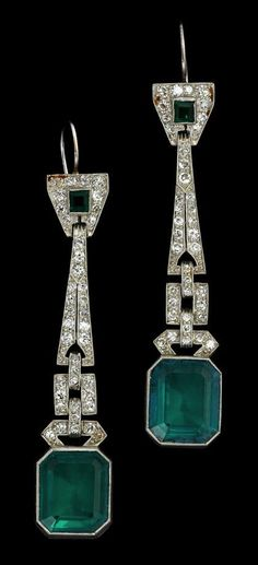 Platinum Art Deco Emerald Earrings | 1920s Earrings | Gatsby Earrings