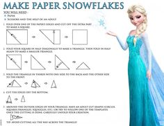 Disney Frozen Free Printables - Coloring Pages and Activity Sheets #disney How to Make Paper Snowflakes!!