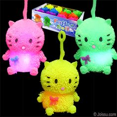 FLASHING KITTEN PUFFER YO-YO BALLS. Pick up by the loop and use as a punch ball to activate the flashing LED's inside. Batteries included. Assorted bright colors. Perfect for Easter basket toys, party favors and Christmas stocking stuffers.(1 dozen per display unit) Size 4 Inch kitten, display unit 10 X 6 X 5.4 inches