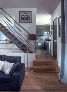 Raised floor for bath? And then up to the loft? Staircase Landing, Mezzanine Floor, Home Fashion, House Plans, Stairs, Loft, Flooring, The Originals, Studio