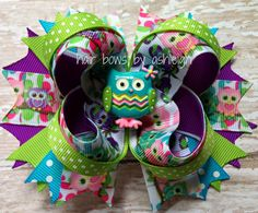 Cute Owl Boutique Stacked Hair Bow  by HairBowsByAshleigh on Etsy