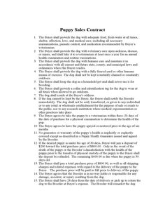 puppy sales contract