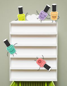 Forget the nail polish -- this would work to store/display mounted wood block rubber stamps!