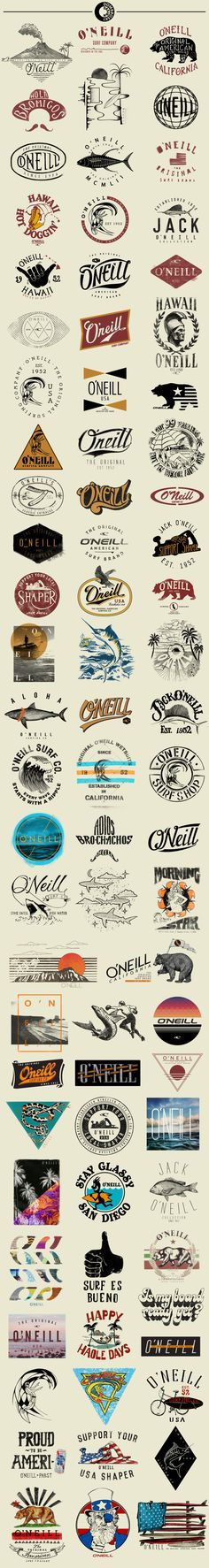 Logos ideas / O'Neill T-Shirt Graphics by Ray Dombroski. O'Neill is known as the Original American Surfing Company. It began as a wetsuit company and surf shop, founded by Jack O'Neill in It continues to be one of the most sought-after surf brands today. Photoshop, Logos Online, Inspiration Logo Design, Design Ideas, Logo Luxury, Surf Logo, Beach Logo, Schrift Tattoos, Badge Logo