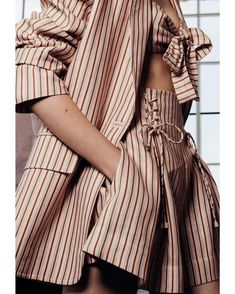 Fashion Details, Look Fashion, Spring Fashion, High Fashion, Fashion Outfits, Australian Fashion Designers, Looks Street Style, Striped Linen, Geometric Patterns