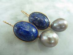 Ohrhänger - Ohrringe Lapis Lavendel Chandelier Perle Tropfen - ein Designerstück von TOMKJustbe bei DaWanda