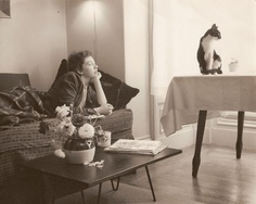 Ruth Bernhard original. My Mom (And the cat...whose name I do not know. I wonder if my uncle could tell me?) In her San Francisco apartment. Circa '50s.