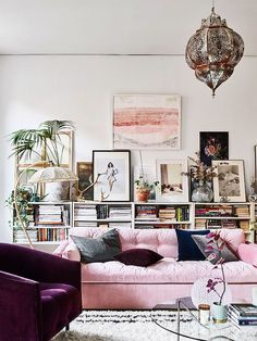 Pink sofa and velvet armchair in the beautiful Stockholm home of Amelia Widell - photo - Andrea Papini, styling - Sasa Antic.