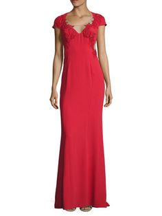Beaded Appliques Column Gown by Marchesa Notte at Gilt
