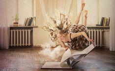 Anka Zhuravleva Sempre tra le nuvole un modello si blocca a mezz'aria sopra un libro gigante che rilascia nubi dalle sue pagine