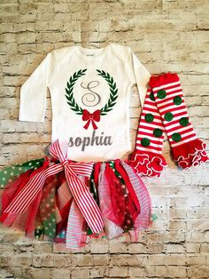 baby girl clothes christmas outfit my first by TrendiestTotsInTown
