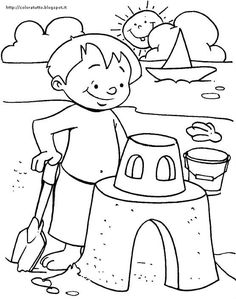 after long dip in the sea have some fun with sand coloring page