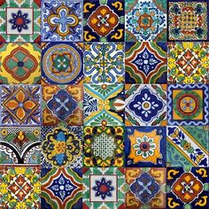 hand painted Mexican tiles