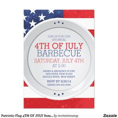 Patriotic Flag 4TH OF JULY Summer Barbecue Party 5x7 Paper Invitation Card