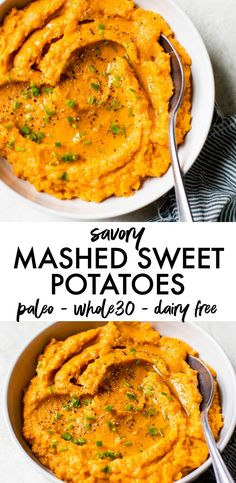 These savory mashed sweet potatoes are made with just three ingredients, super creamy, dairy free and Sweet Potato Recipes Healthy, Paleo Recipes, Mashed Sweet Potato Recipe Paleo, Paleo Food, Paleo Diet, Healthy Food, Mashed Sweet Potatoes Savory, Mash Recipe, Lunches