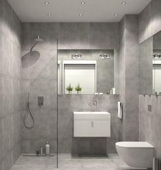 badezimmer modern einrichten graue fliesen weiße badmöbel grifflos ... - Graue Fliesen