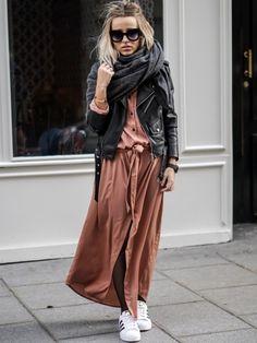 Le trio maxi-écharpe + perfecto noir + robe chemise longue  = mélange réussi, réalisé par la bloggeuse Noholita et repris sur le site Tendances de Mode.