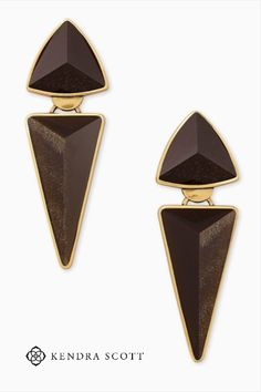 Meet Kendra's favorite, the Vivian Vintage Gold Statement Earrings in Golden Obsidian. This showstopping pair is influenced by Art Deco style, with its custom triangular shapes that bring just the right amount of edge.