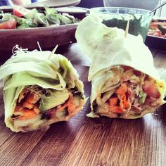 Raw Vegan Burrito with Awesomesauce (sauce zucchini, sesame seeds, lemons, green onion, bell pepper)